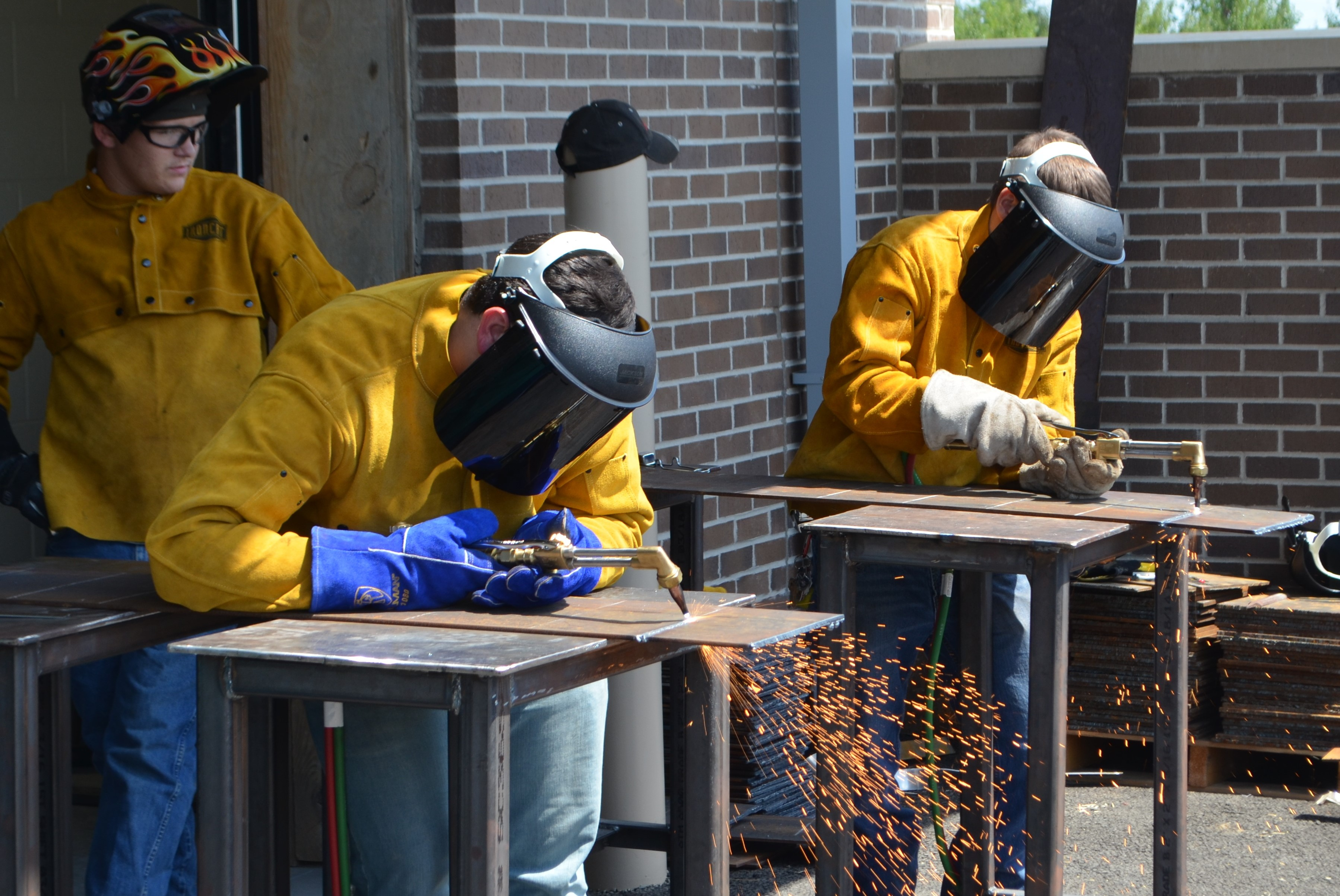 Welding students working hard in the lab!