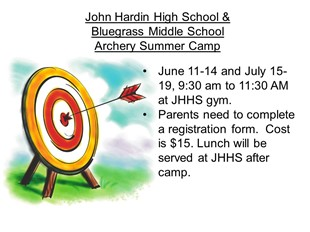 JHHS and Bluegrass Middle School Archery Camp linked image