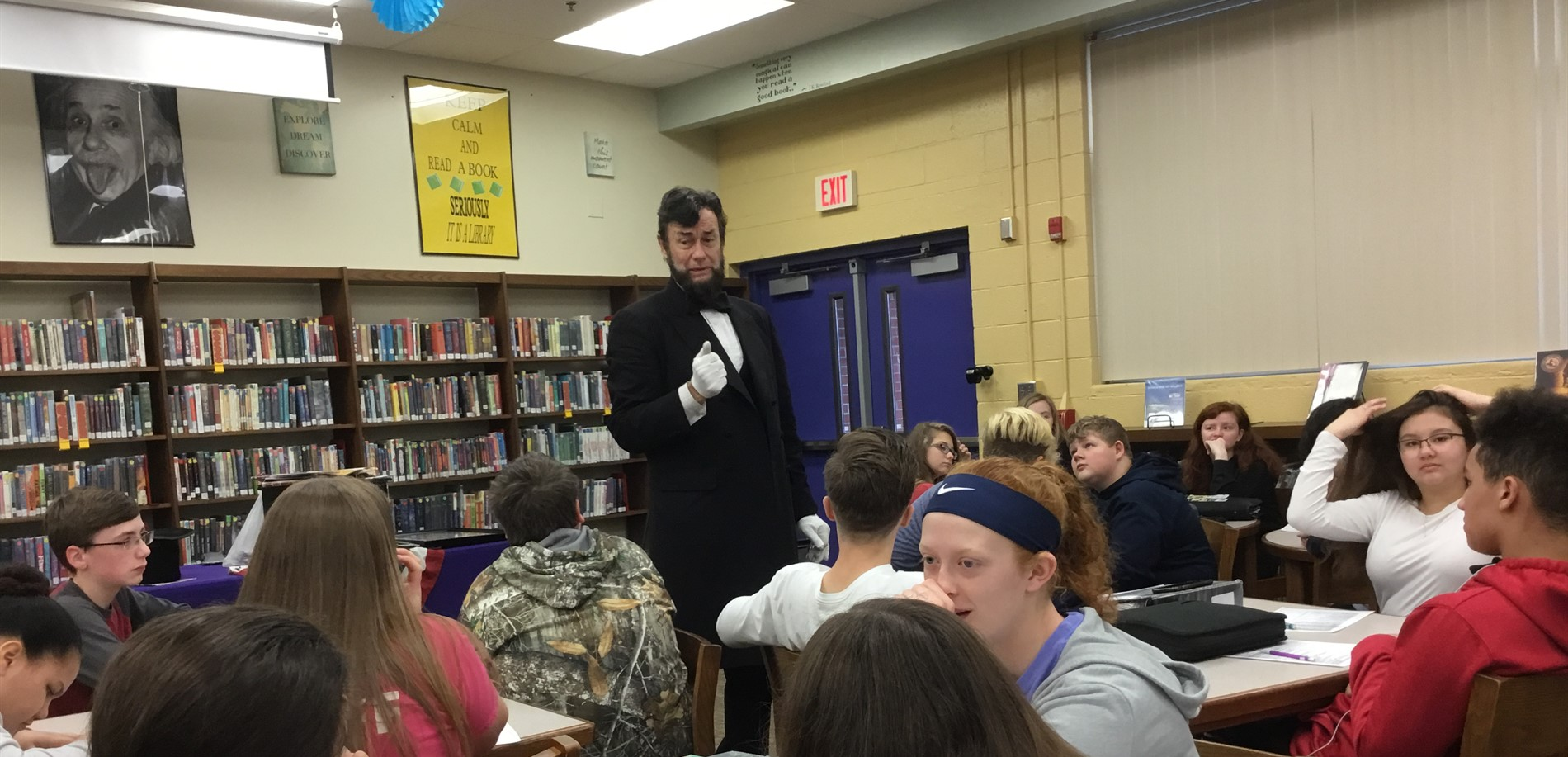 Abraham Lincoln Re-enactor, Larry Elliott, Shares Civil War History with WHMS 8th Graders.
