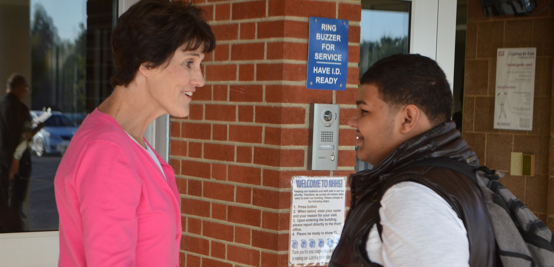 HCS Superintendent Terrie Morgan greets a North Hardin High School student on the first day of school.