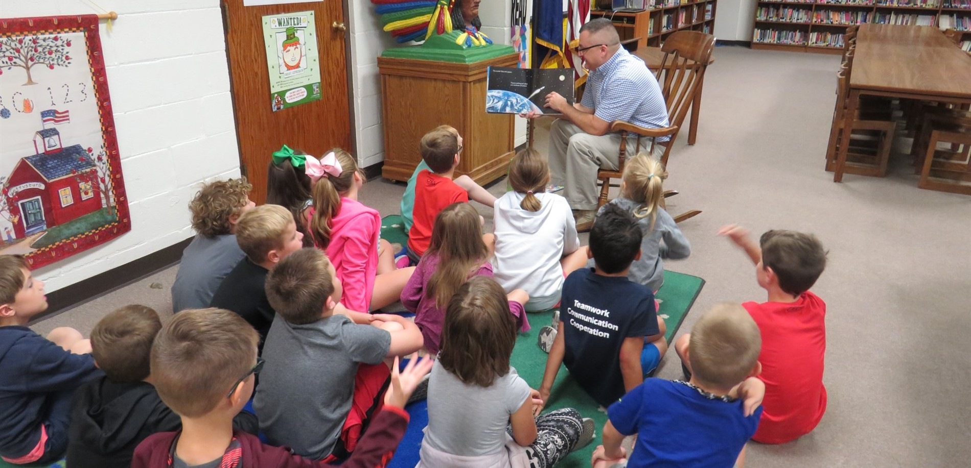 Members of the Hardin County Rotary Club stopped by Lincoln Trail Elementary School to read with students in the library media center.