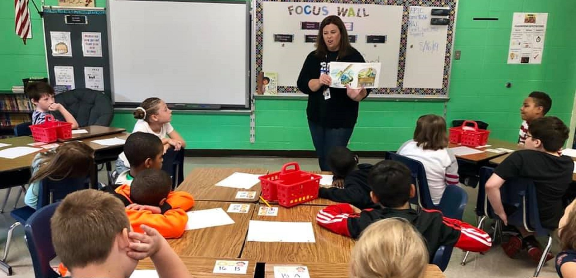 Meadow View Elementary School Principal Carrie Prater dropped by a classroom to read with students.