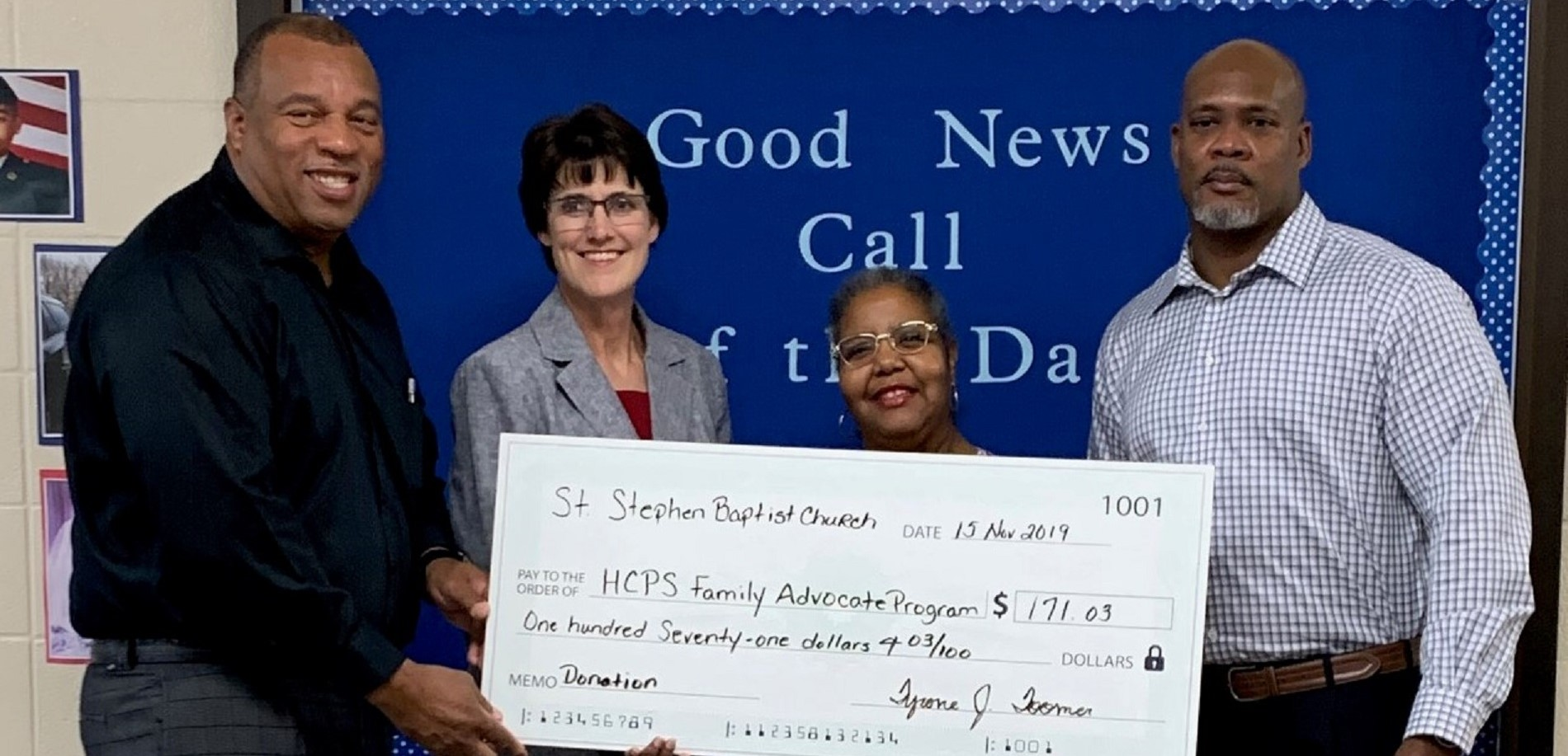 St. Stephen Baptist Church recently donated funds to help purchase laundry supplies for students in need.