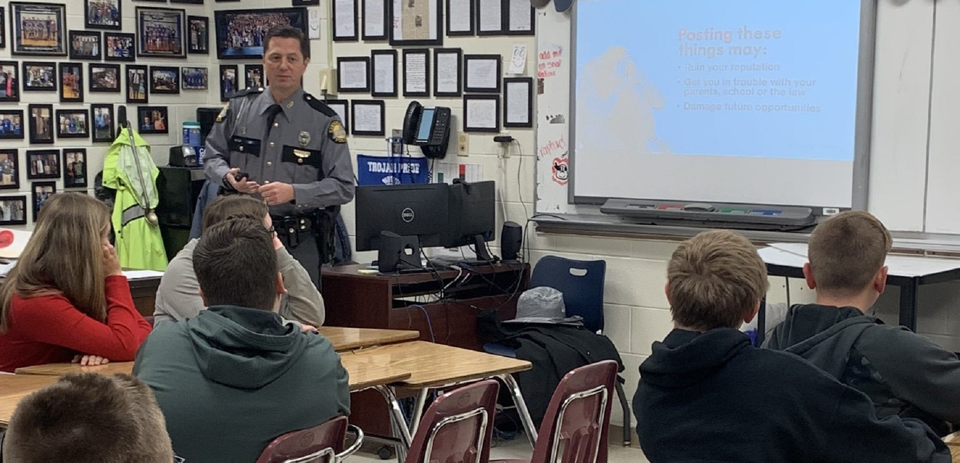 JT Alton Middle School students learned more about the good and bad things that come from social media.   Thank you KSP Trooper Scotty Sharp.