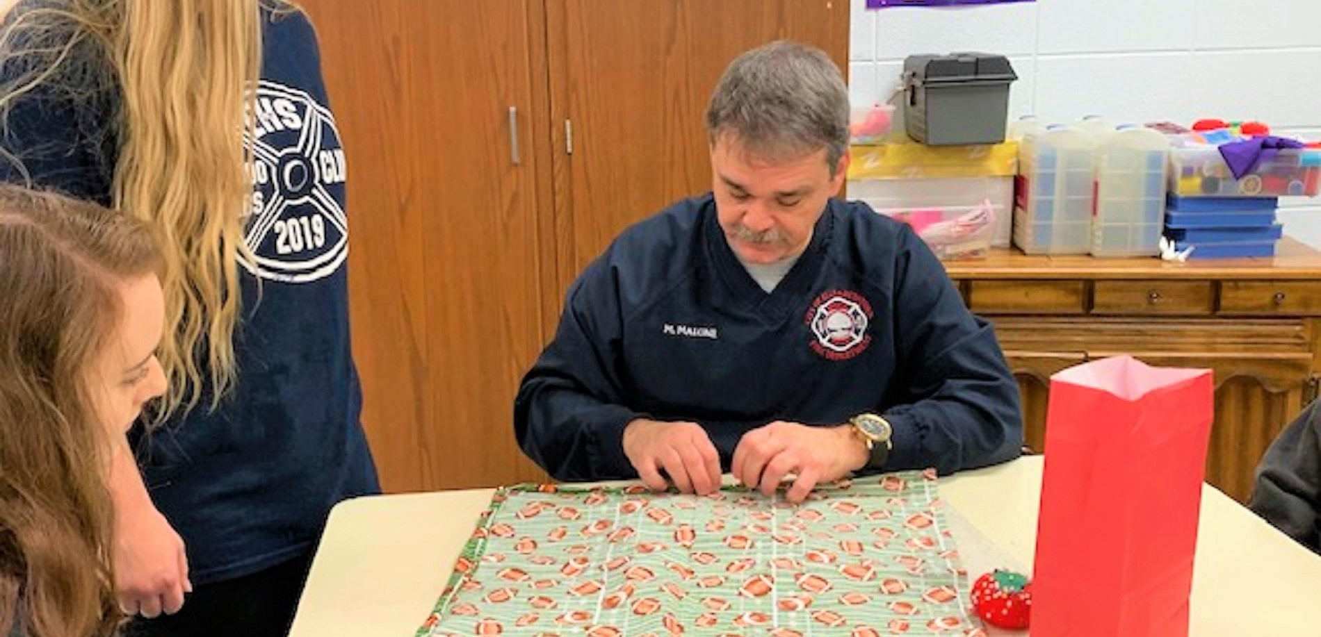 Central Hardin Family and Consumer Sciences students worked with Etown Fire Department Chief Mark Malone to make superhero capes that will be donated to the Addison Jo Blair Wing at Norton's Children's Hospital.
