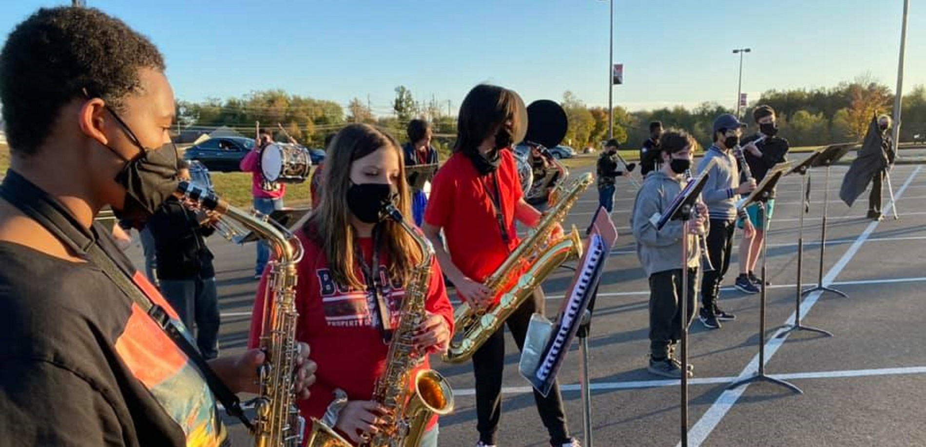 The John Hardin High School band played during Homecoming festivities at school