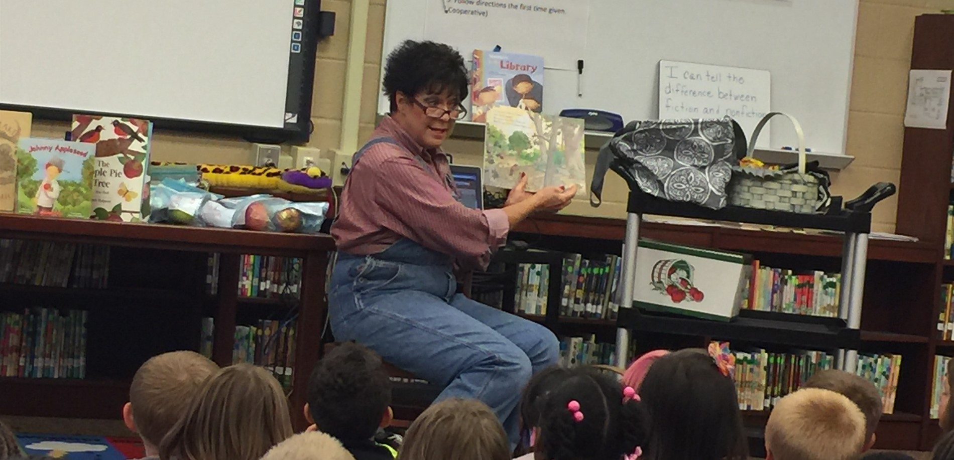 Renee Skaggs shared stories about Johnny Appleseed to first grade students.