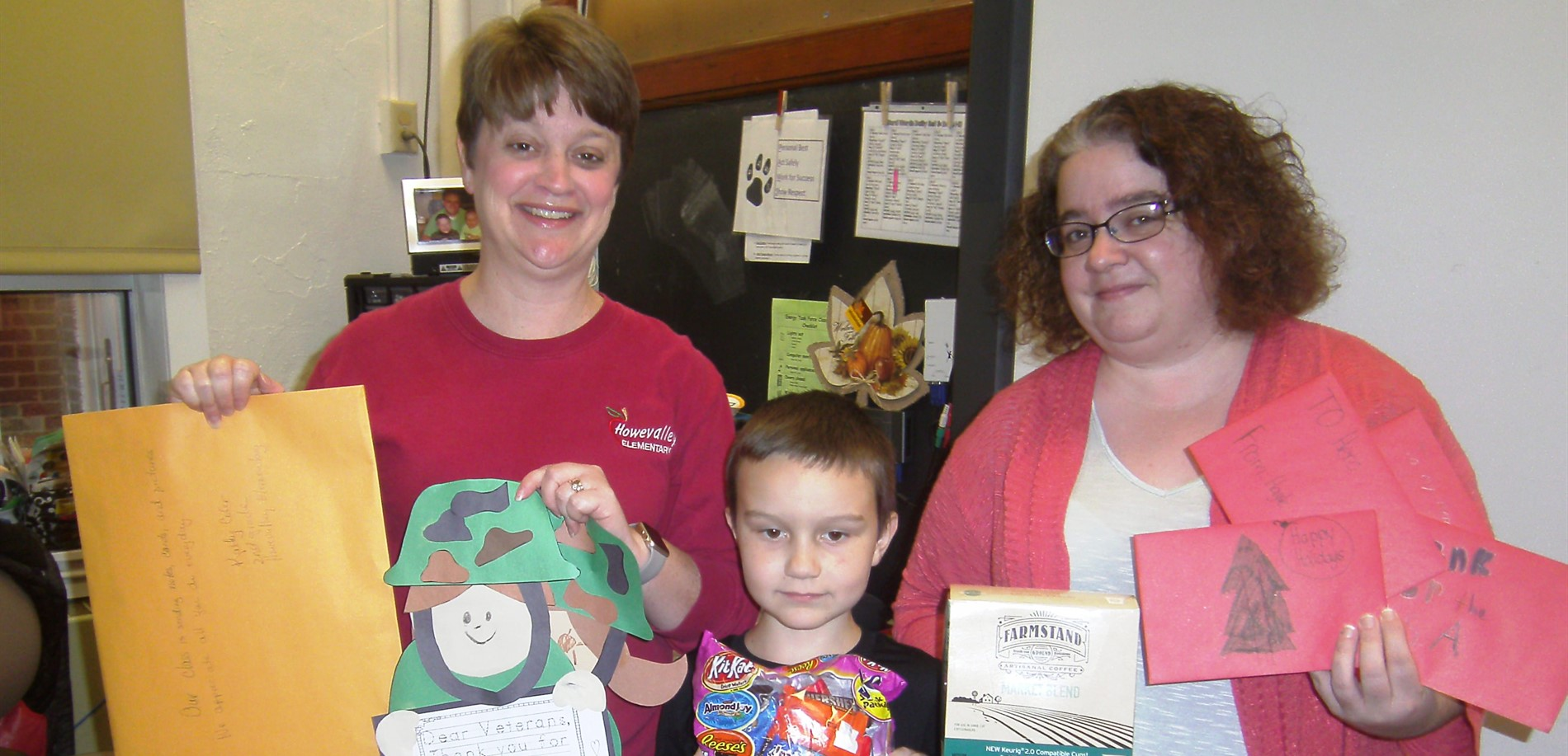 Howevalley Elementary School made care packages for soldiers who are currently deployed.