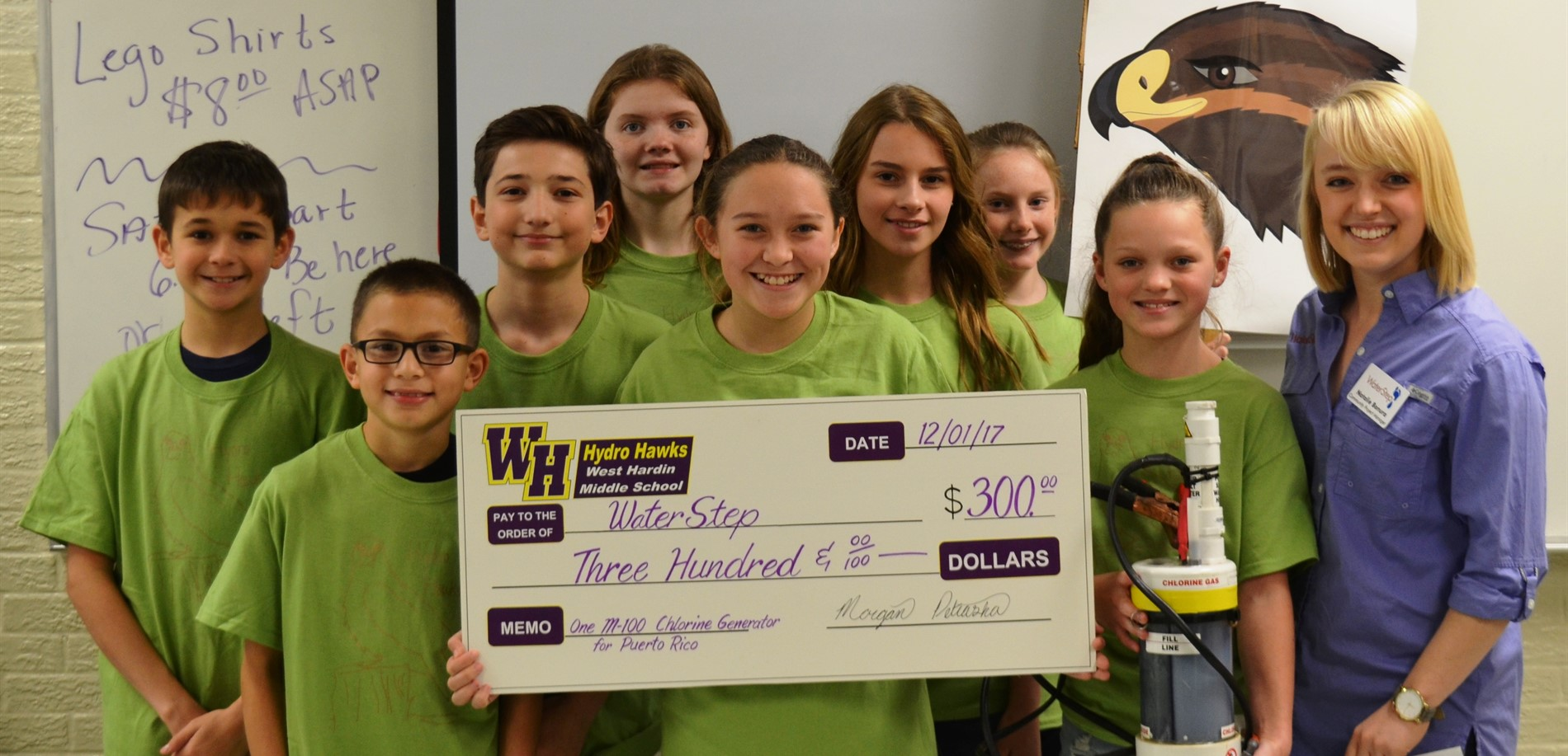 West Hardin Middle School students raised and then donated $300 to WaterStep, a foundation trying to establish water purification in Puerto Rico.