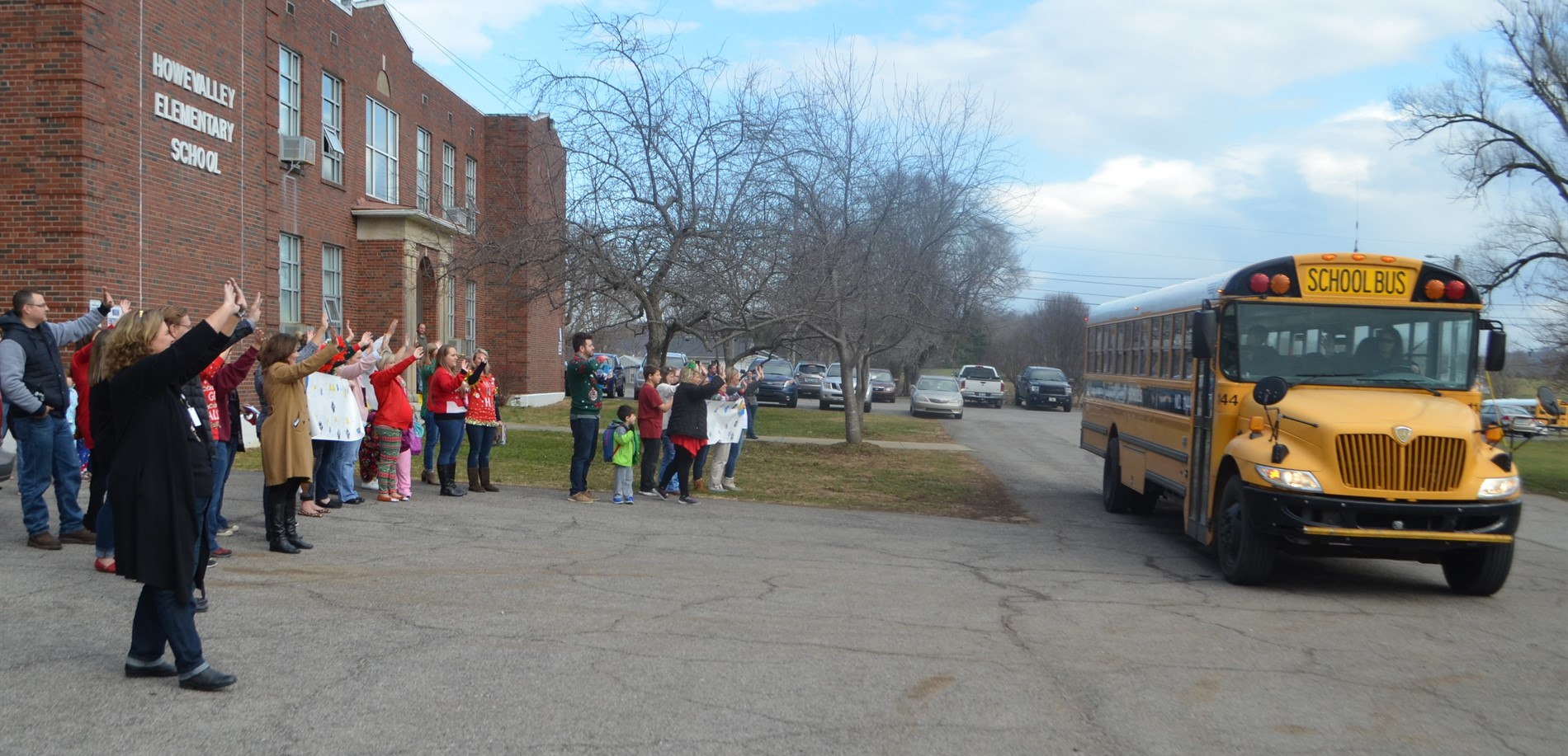 Howevalley Elementary School staff waved goodbye to their students.  They will see each other again at Cecilia Valley Elementary on January 4, 2018.