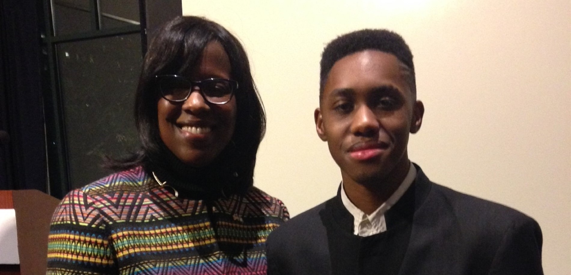 John Hardin High School student Joseph McCord was presented with the Martin Luther King Jr. Youth Leadership Award by Kentucky Lt. Gov. Jenean Hampton.