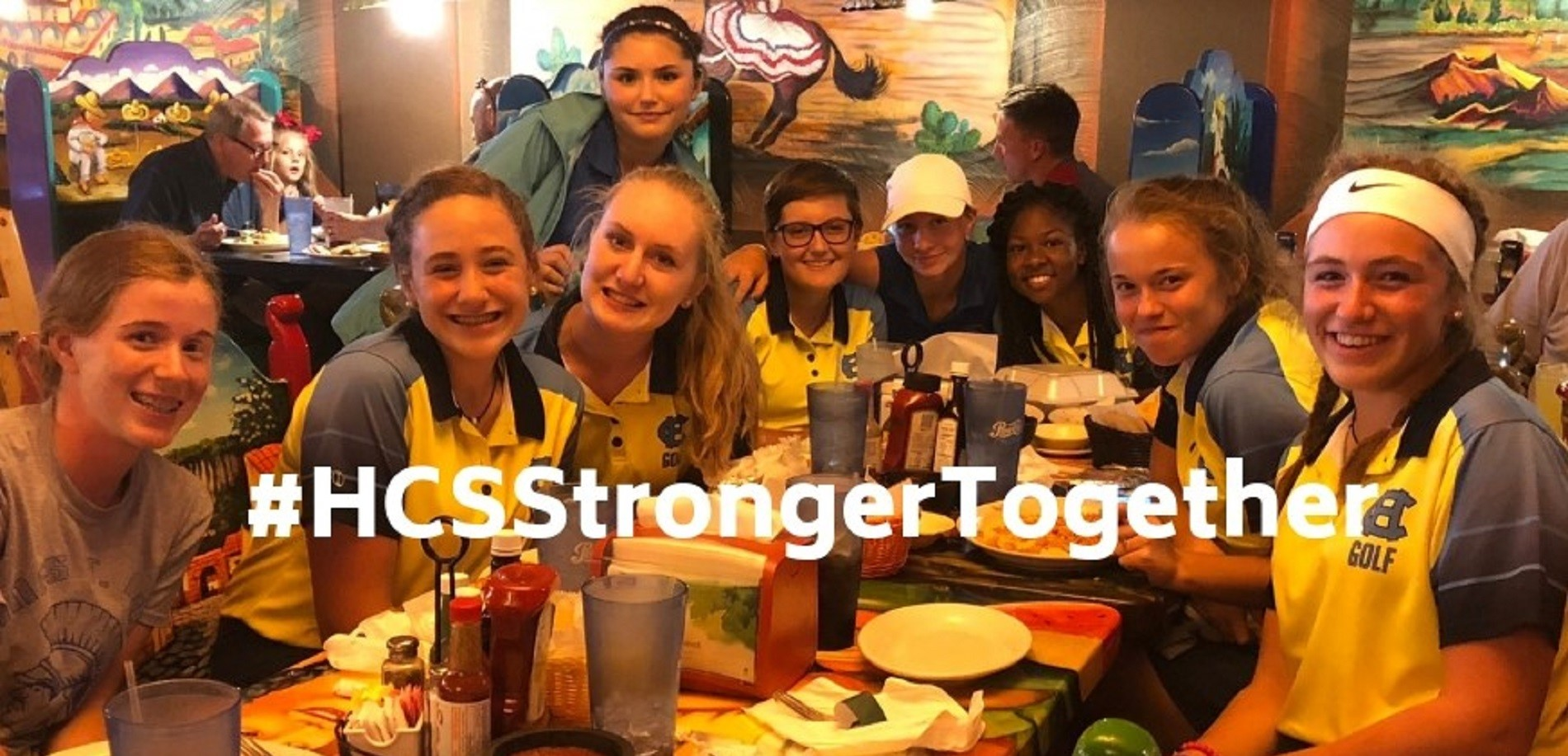 The NHHS golf team and the CHHS golf team enjoyed a meal together after earning first and second place, respectively, in the regional tournament.