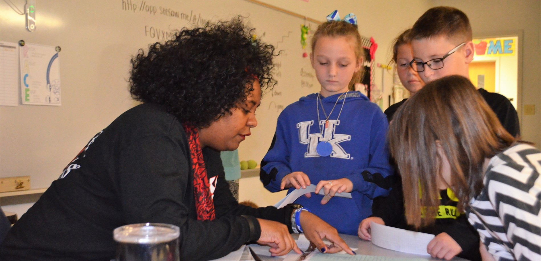 Rineyville Elementary School students enjoy working with Ms. Thurman.