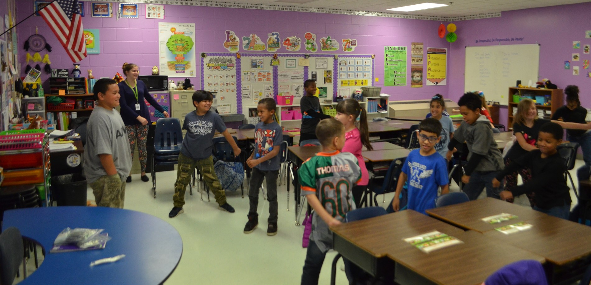 Woodland Elementary School students enjoyed recess inside the classroom on a cold day.