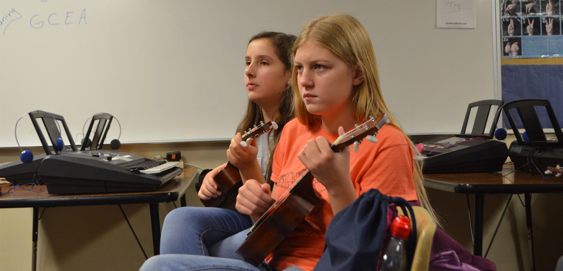 East Hardin Middle School students played the ukulele recently during music class.