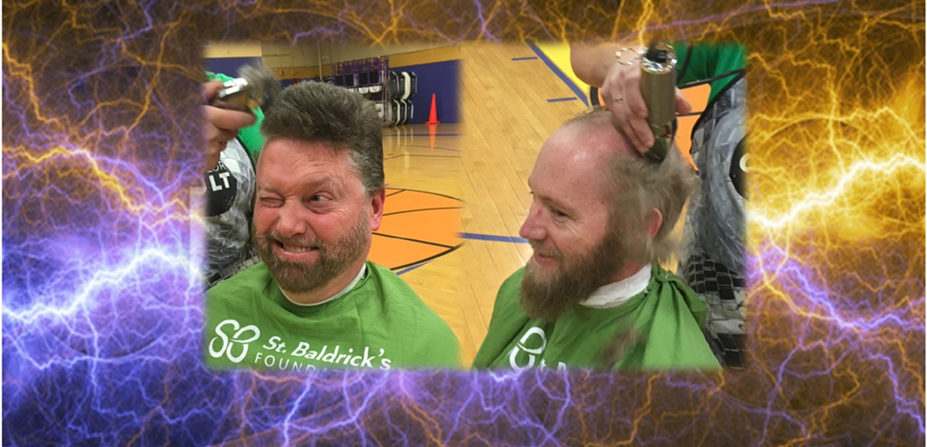 Mr. Martin (left) & Mr. Sarver (right) Volunteer for the St. Baldricks Shavedown Donation Drive to Benefit Cancer Research for Children.